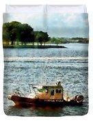 Boats - Police Boat Norfolk Va Duvet Cover