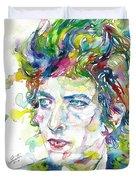 Bob Dylan - Watercolor Portrait.19 Duvet Cover
