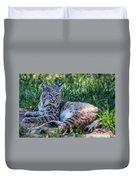 Bobcat In The Grass 2 Duvet Cover