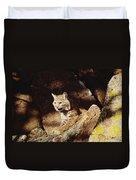 Bobcat Lynx Rufus Portrait On Rock Duvet Cover