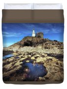 Bob's Cave At Mumbles Lighthouse Duvet Cover