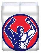 Body Builder Flexing Muscles Circle Retro Duvet Cover