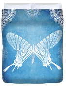 Bohemian Ornamental Butterfly Deep Blue Ombre Illustratration Duvet Cover