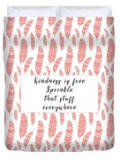 Bohemian Feathers Coral  Kindness Is Free Duvet Cover