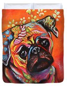 Pug Duvet Cover by Patricia Lintner