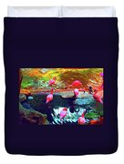 Bold Modified Flamingoes Duvet Cover