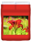 Bold Red Gold - Daylily Duvet Cover