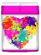Bold Watercolor Heart - Digital Art Duvet Cover