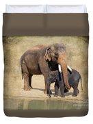 Bonding - Asian Elephants Houston Zoo Duvet Cover