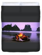 Bonfire On The Beach, Point Of The Duvet Cover