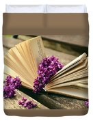 Book And Flower Duvet Cover