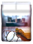 Book And Glasses Duvet Cover