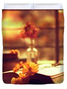Books And Flowers Duvet Cover