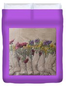 Boots And Flowers Duvet Cover