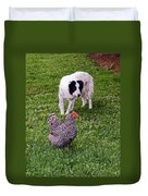 Border Collie Herding Chicken Duvet Cover