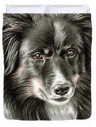 Border Collie Portrait Duvet Cover