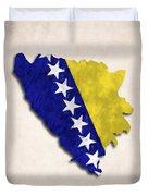Bosnia And Herzegovina Map Art With Flag Design Duvet Cover