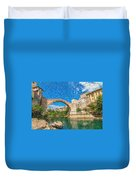 Bosnia Mostar Herzegovina Europe Travel Landmark Duvet Cover