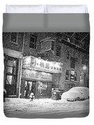 Boston Chinatown Snowstorm Tyler St Black And White Duvet Cover