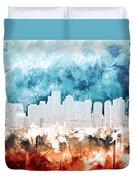 Boston City Skyline Watercolor 2 Duvet Cover