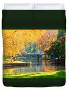 Fall Season At Boston Common Duvet Cover