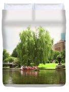 Boston Garden Swan Boat Duvet Cover