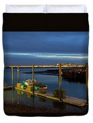 Boston Ma Belle Isle Boat Pier And Skyline Logan Airport Duvet Cover