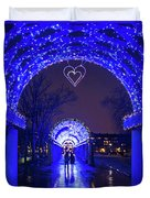 Boston Ma Christopher Columbus Park Trellis Lit Up For Valentine's Day Rainy Night Duvet Cover
