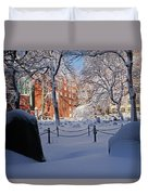 Boston Ma Granary Burying Ground Tremont St Grave Stones Duvet Cover