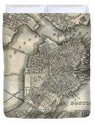 Boston Map Of 1842 Duvet Cover