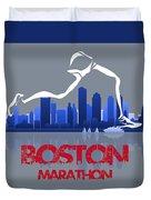 Boston Marathon 3a Running Runner Duvet Cover