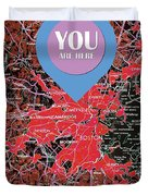 Boston Massachusetts 1948 Red Old Map You Are Here Duvet Cover