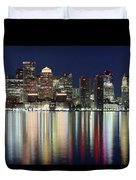 Boston Night Skyline Panorama Duvet Cover
