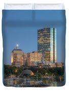 Boston Night Skyline Iv Duvet Cover