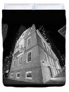 Boston Old State House Boston Ma Angle Black And White Duvet Cover