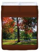 Boston Public Garden Autumn Tree Morning Light Walk In The Park Duvet Cover