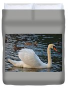 Boston Public Garden Swan Amongst The Ducks Ruffled Feathers Duvet Cover