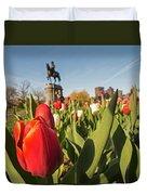 Boston Public Garden Tulips And George Washington Statue 2 Duvet Cover