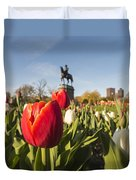 Boston Public Garden Tulips And George Washington Statue Duvet Cover