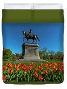 Boston Public Garden Tulips Boston Ma Duvet Cover