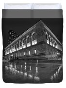 Boston Public Library Rainy Night Boston Ma Black And White Duvet Cover