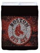 Boston Red Sox Bottle Cap Mosaic Duvet Cover by Paul Van Scott