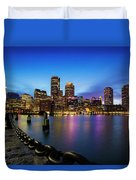 Boston Skyline At Dusk Duvet Cover