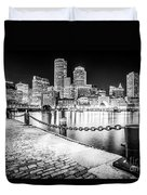 Boston Skyline At Night Black And White Picture Duvet Cover