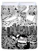 Boston Skyline Black And White Duvet Cover