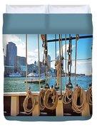 Boston Skyline From The Boston Harbor Duvet Cover
