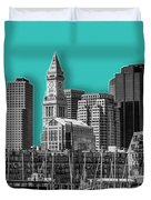 Boston Skyline - Graphic Art - Cyan Duvet Cover