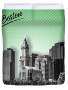 Boston Skyline - Graphic Art - Green Duvet Cover