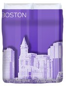 Boston Skyline - Graphic Art - Purple Duvet Cover