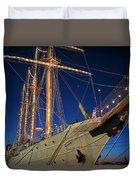 Boston Tall Ship Flags Boston Ma Sailors Blue Sky Duvet Cover